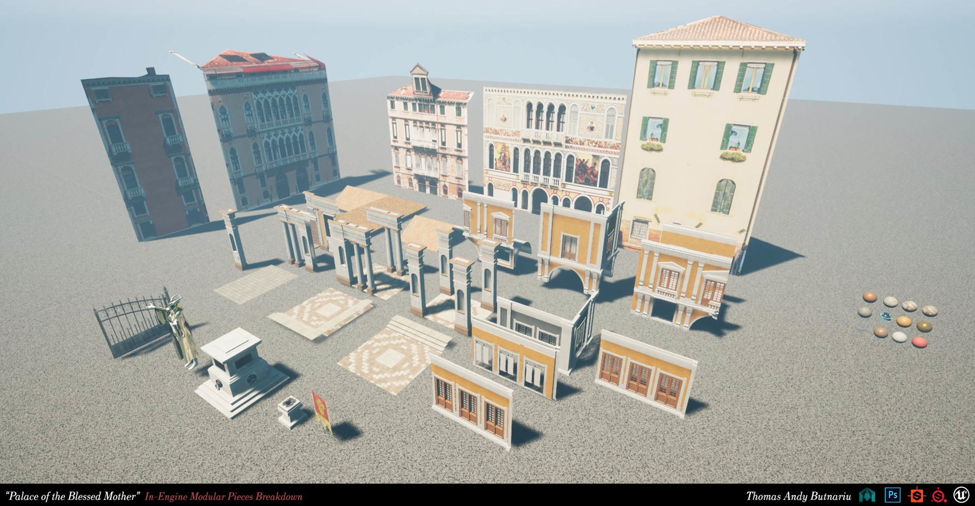 The modular pieces in the game engine are packed in bigger pieces for ease of use.