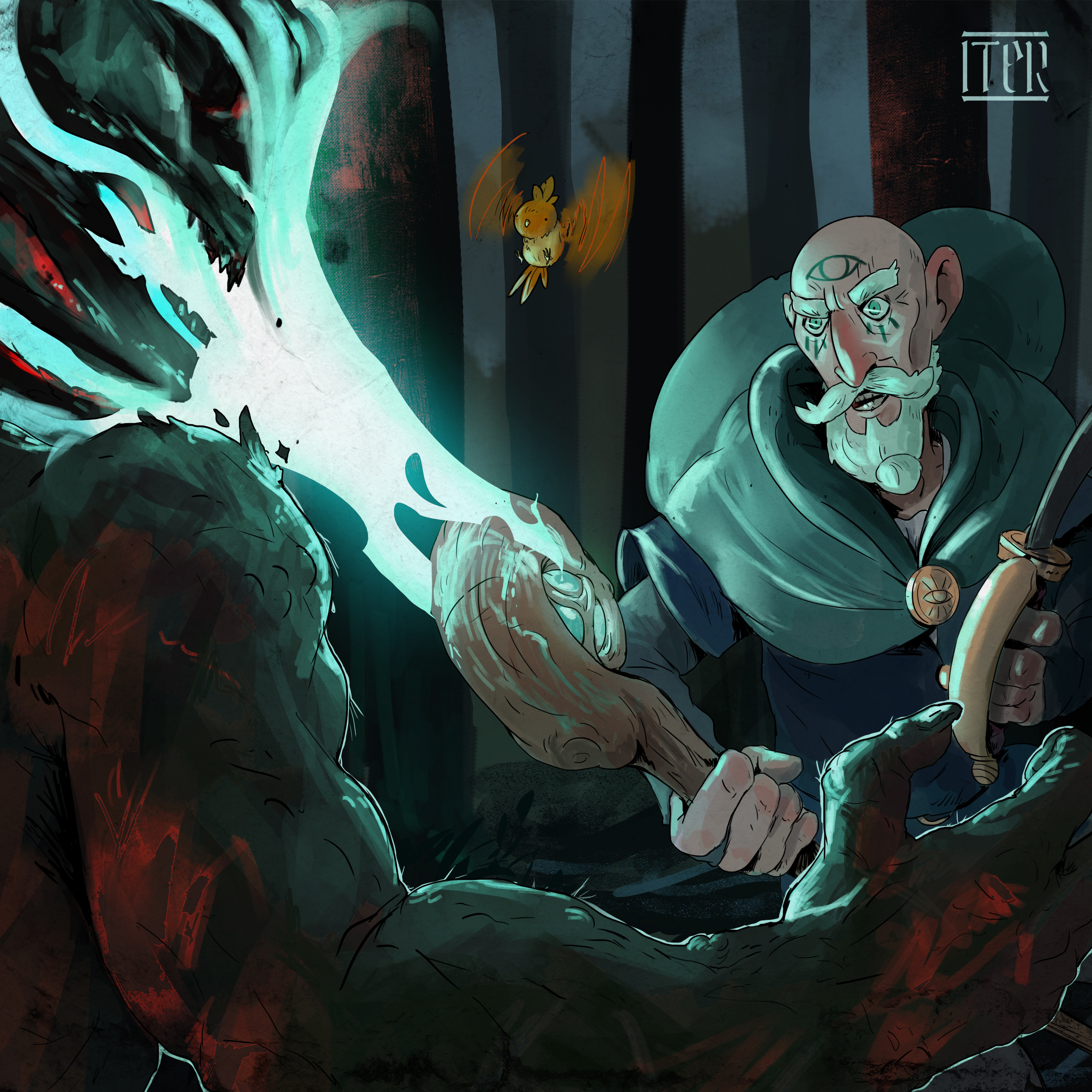 Vismir is a powerful mage in search for quests, haunted by his past. Sometimes he's not in his right mind.