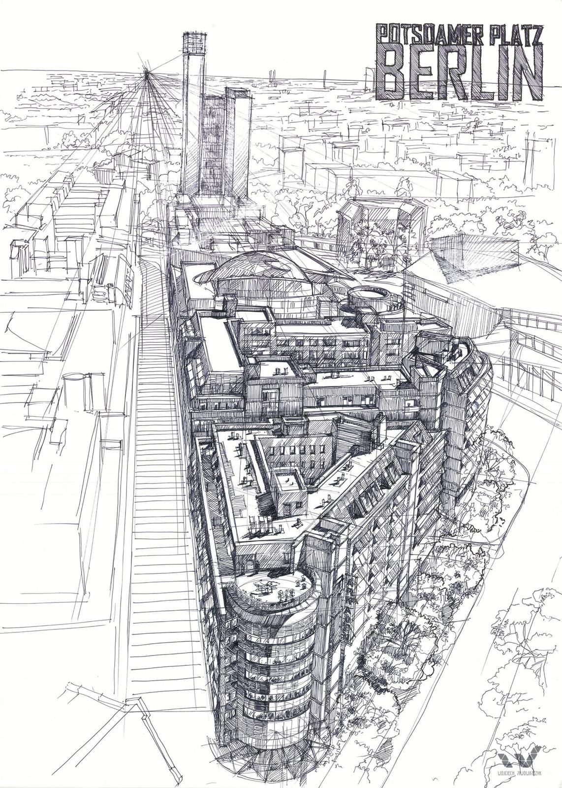 Berlin - pen drawing 50x70cm (20x28in)