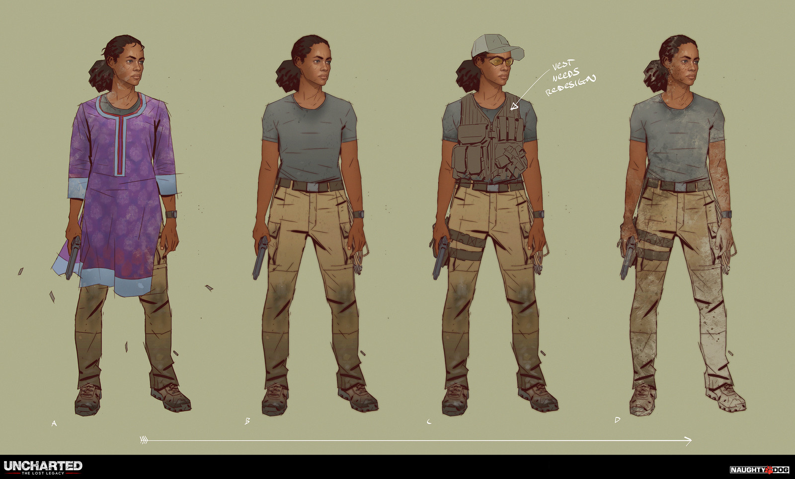 Costume progression for Nadine Ross