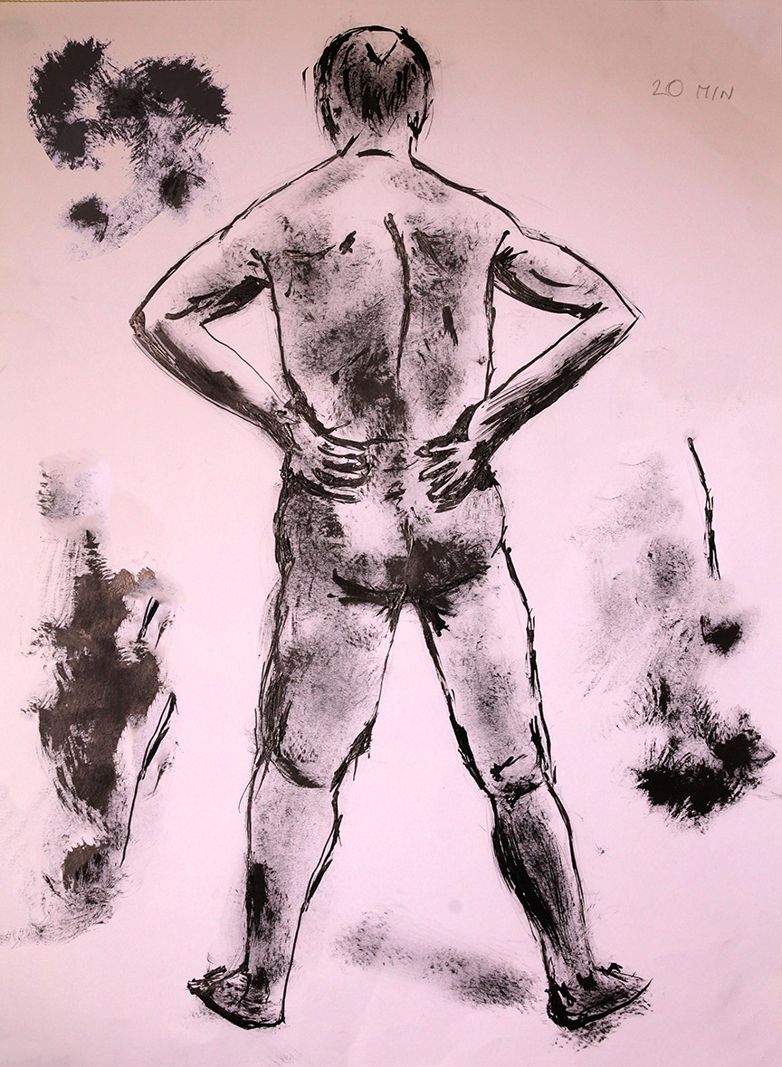 Ink drawing of man