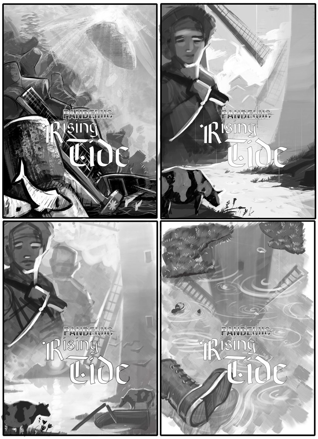 Pandemic Rising tide, composition sketches