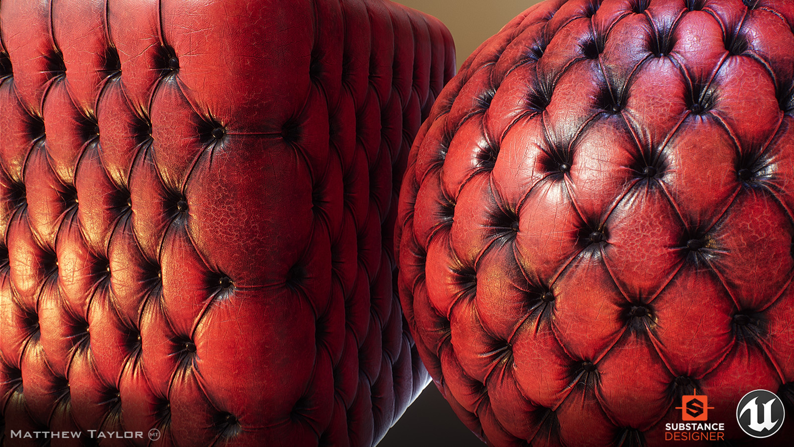 Chesterfield leather sofa material.