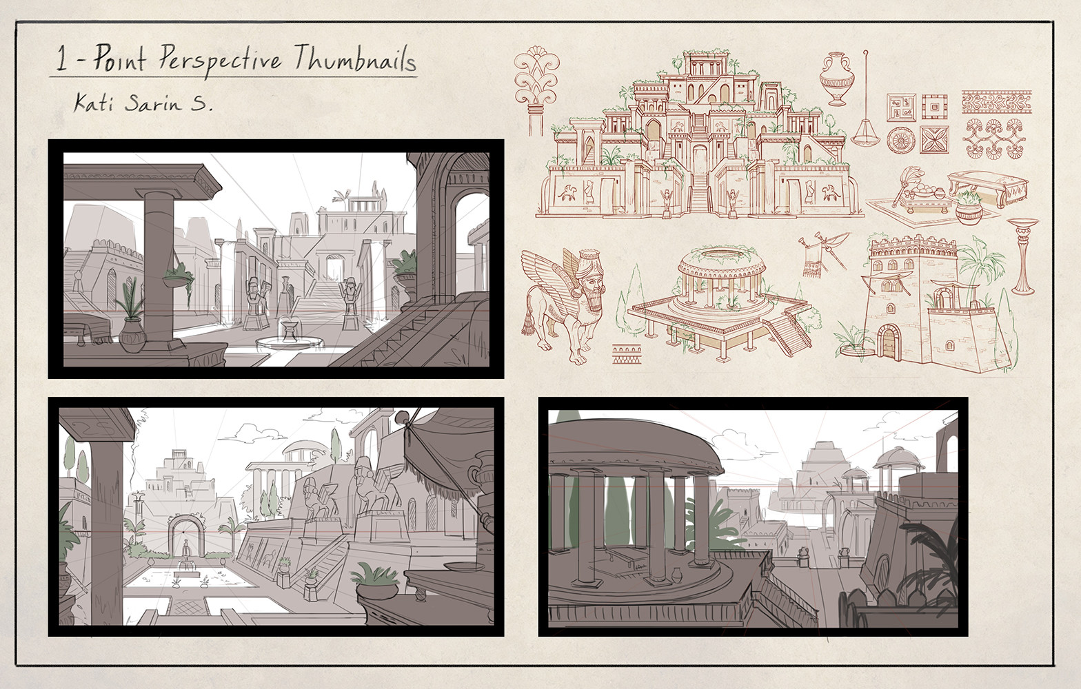 Thumbnail sketches of ideas before proceed to line art.
