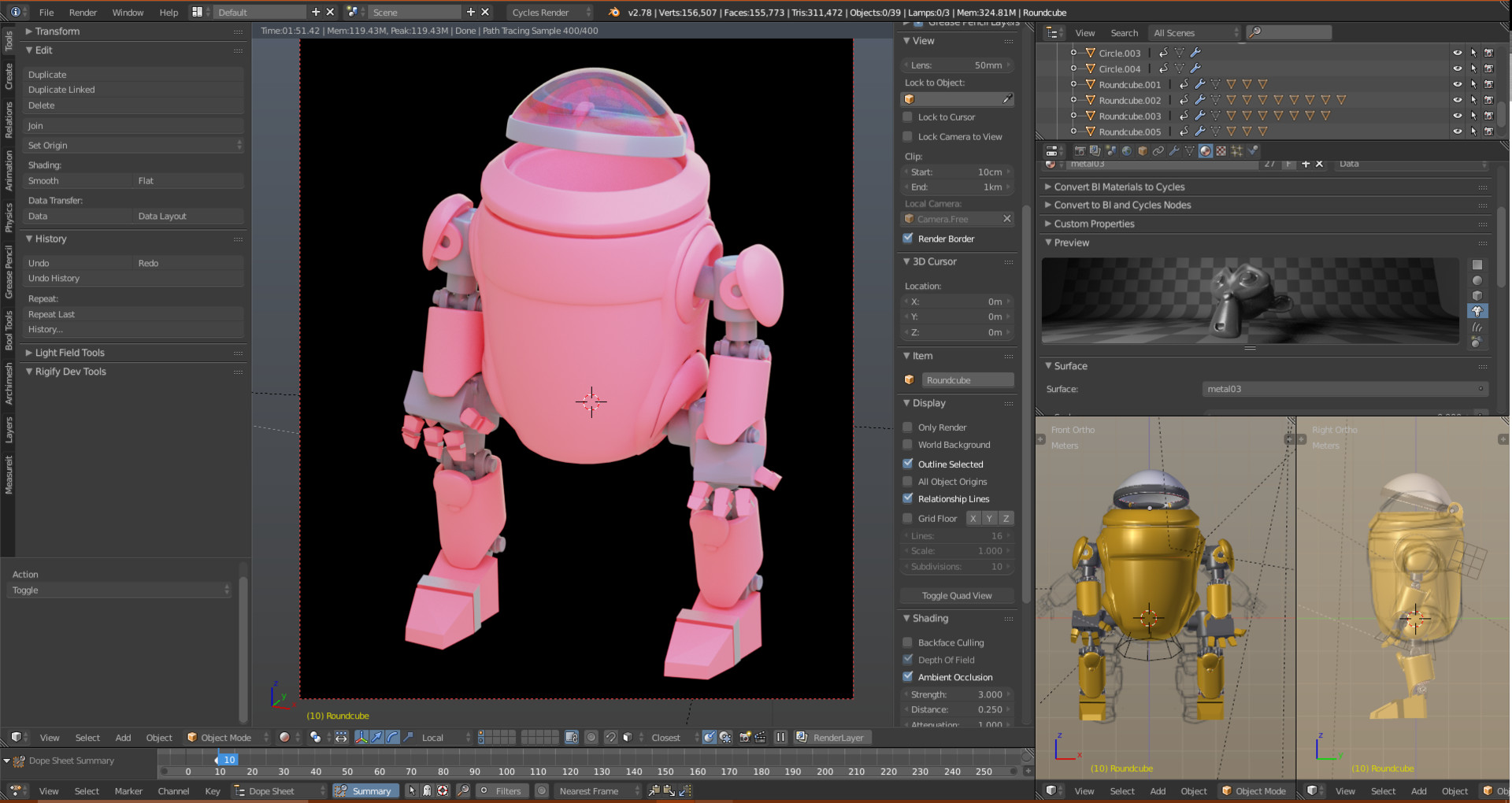 mecha 3D model in Blender
