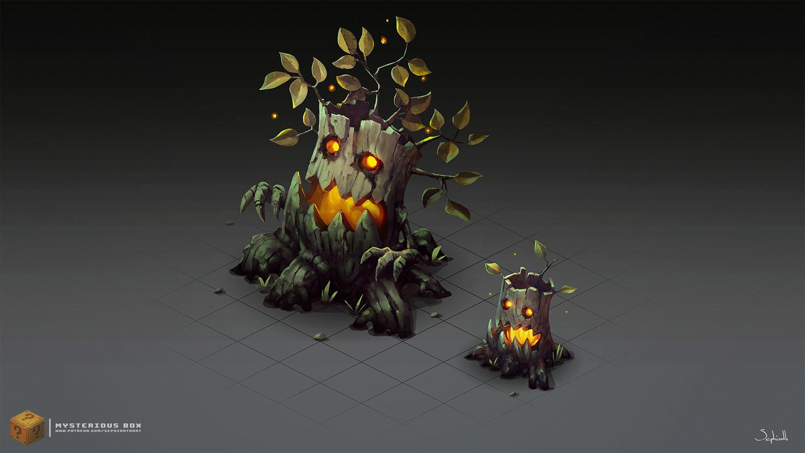 Sephiroth art isometric evil trees