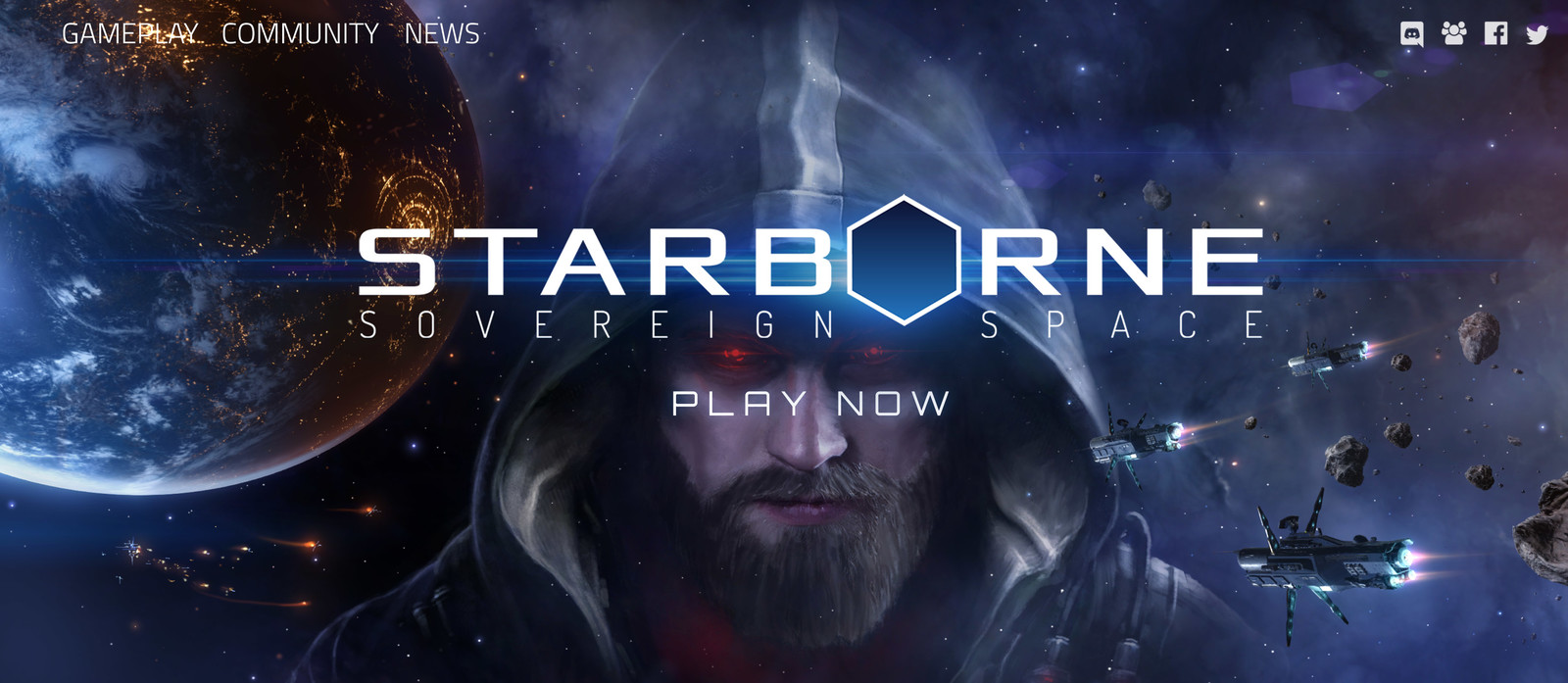 Cover image for the Starborne website with logo and links