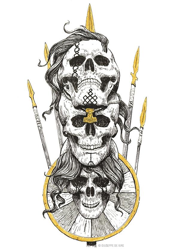 Giuseppe de iure giuseppedeiure ink sketch viking skull