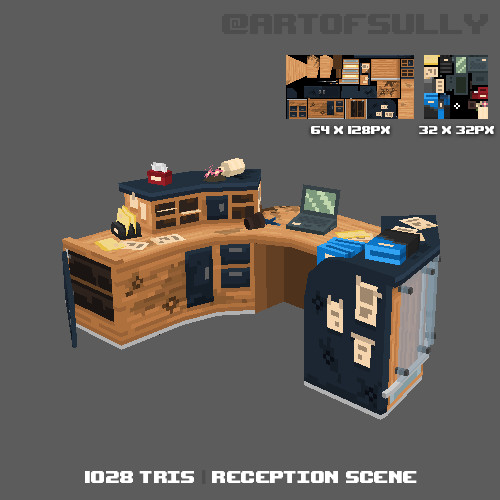 3D Pixel-Art Reception Area (Commission) + Timelapse
