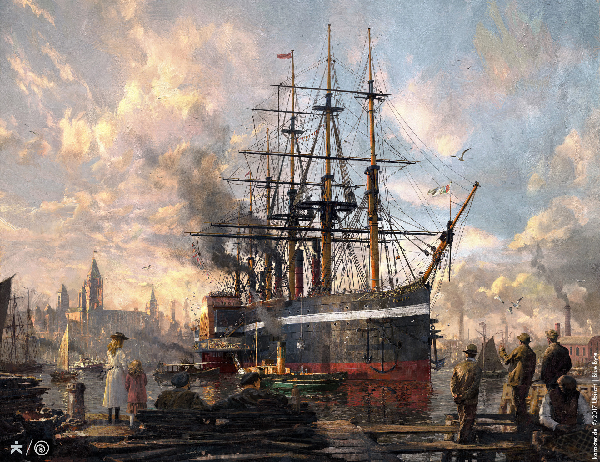 """FINAL. Actually the client version has more sky on top to make room for the """"Anno 1800"""" header. All 3D elements have been carefully painted over to get to the traditionell media look we were after."""