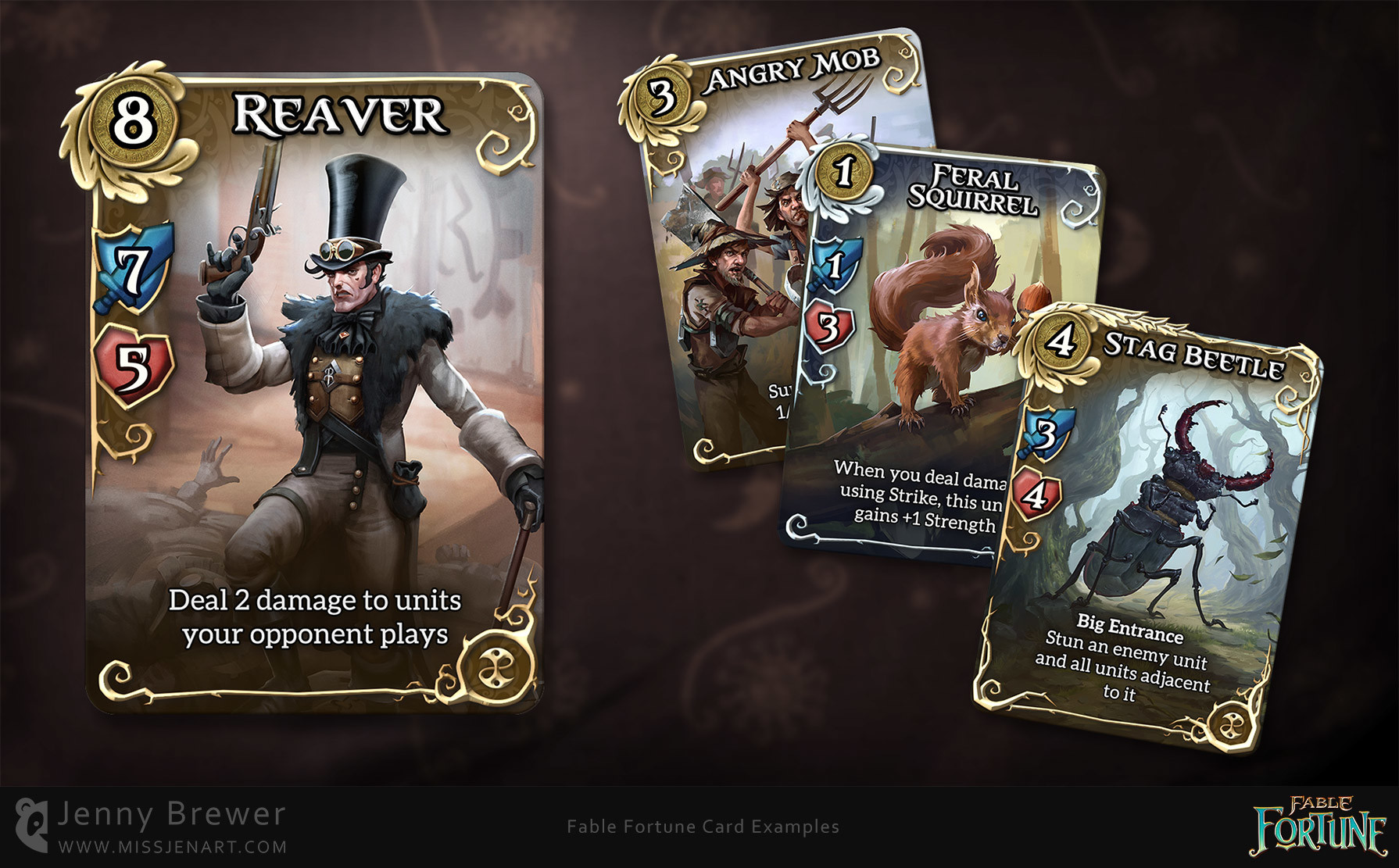 Card UI design with concept art in place.