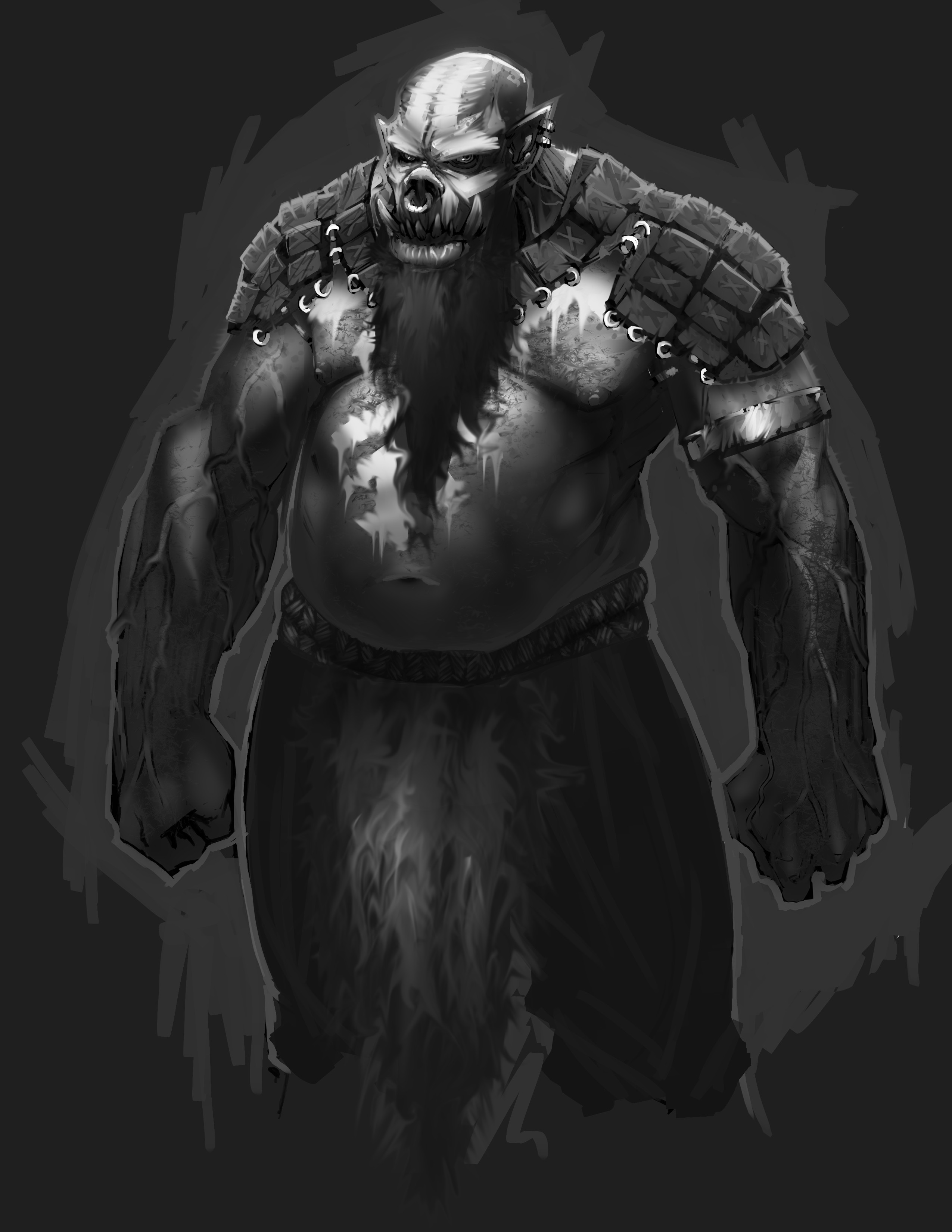 Armored base character with warpaint, dark beard and loincloth