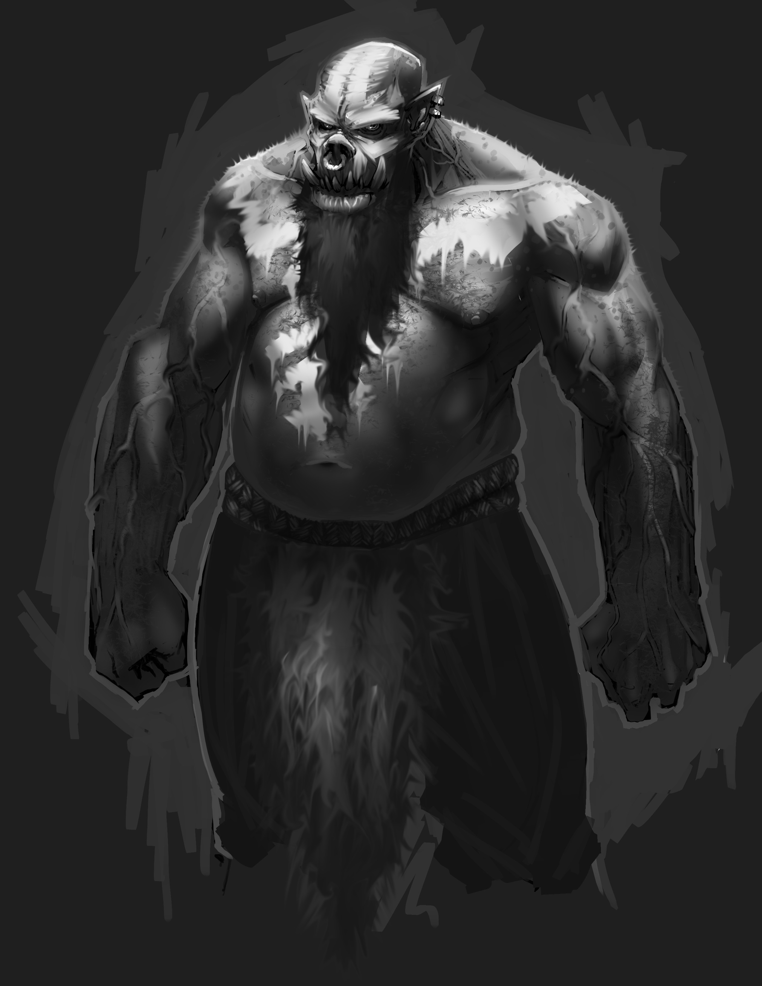 Base character with warpaint, dark beard and loincloth