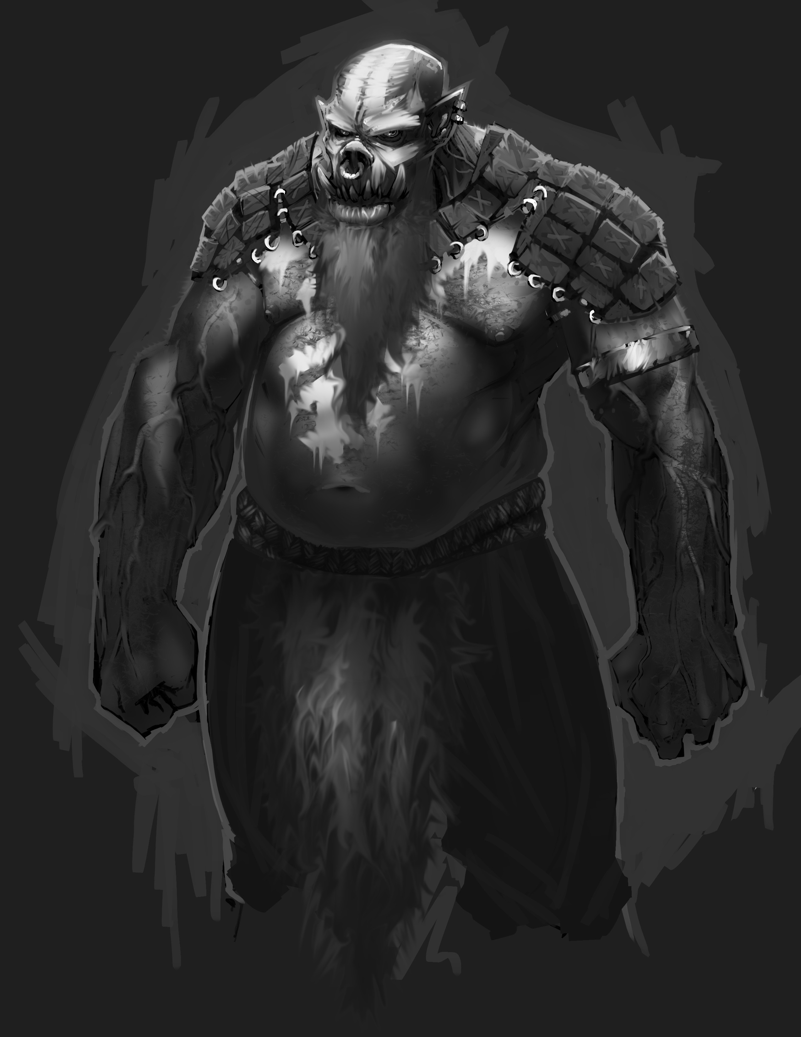 Armored base character with warpaint, grey beard and loincloth