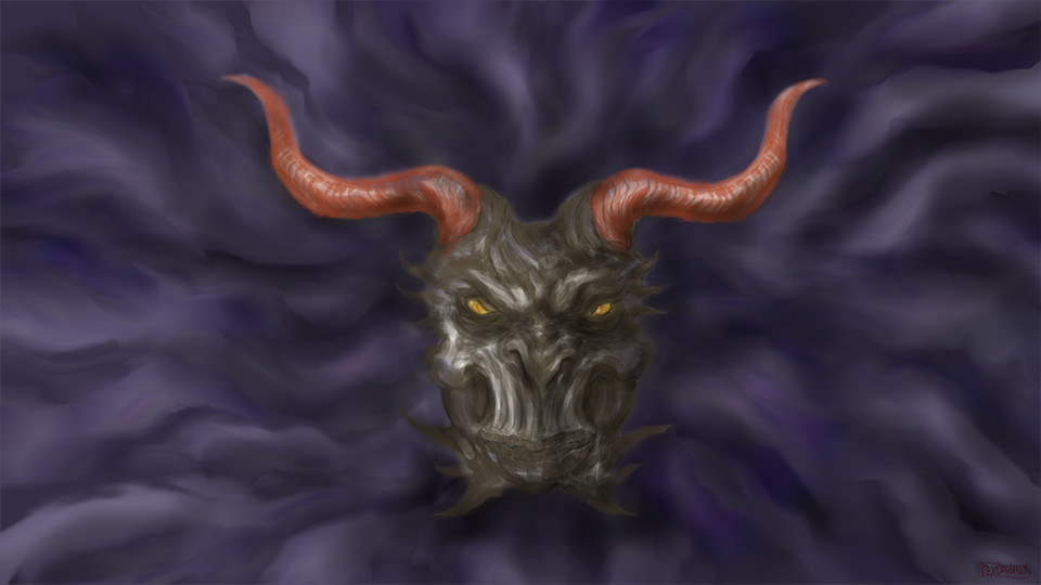 A grumpy daemon head