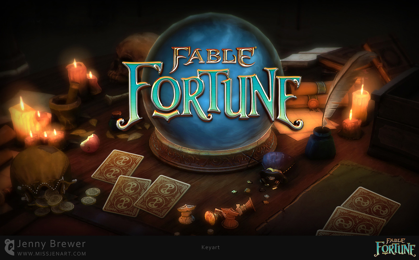 The menu set the mood of a fortune tellers table top very well, I worked up the scene in Photoshop to create the key art which was used as the key art for marketing the game.