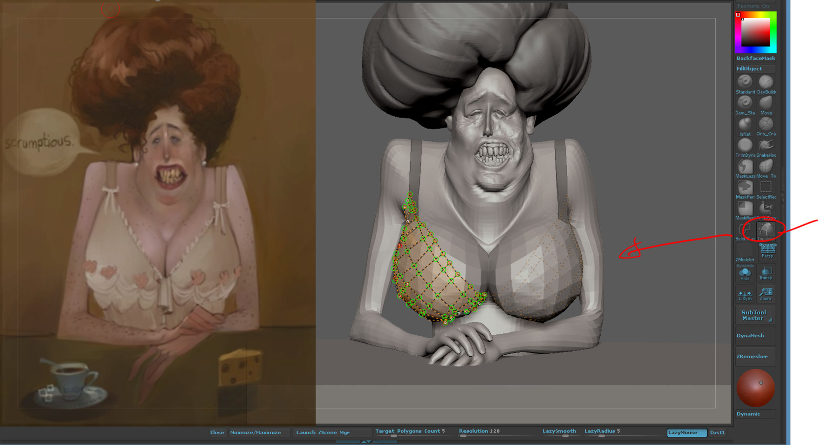 WIP process using toplogy brush for the bra