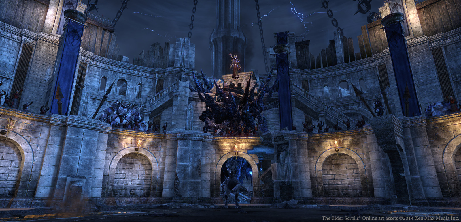 Imperial City arena (angle #1). Architecture by me. Characters, lights, and background by others.