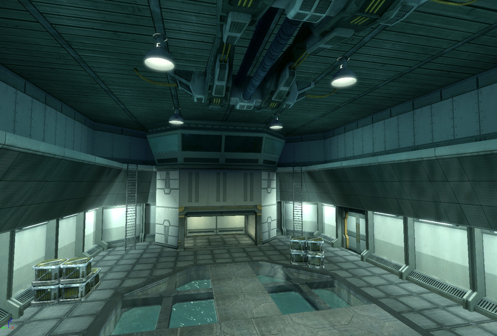 An interior shot from my level, Power Play. All lighting, modeling, and texturing mine.