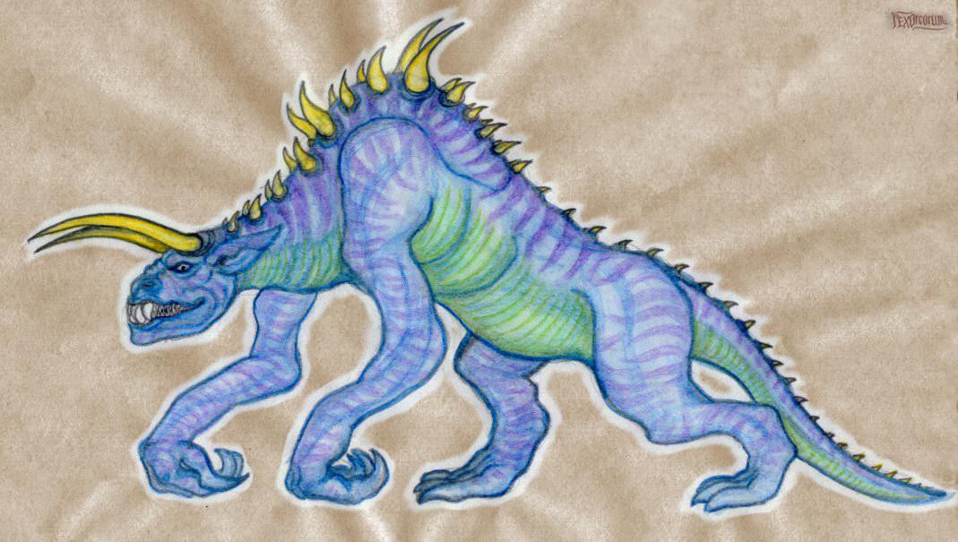 Infernal beast (pencil, ballpoint pen, aquarelle crayons)