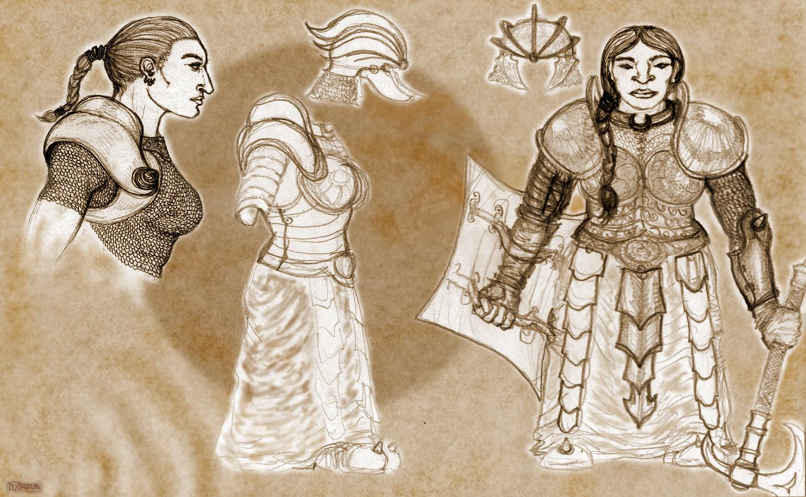 Serious female dwarves - armour study (pencil, ballpoint pen)