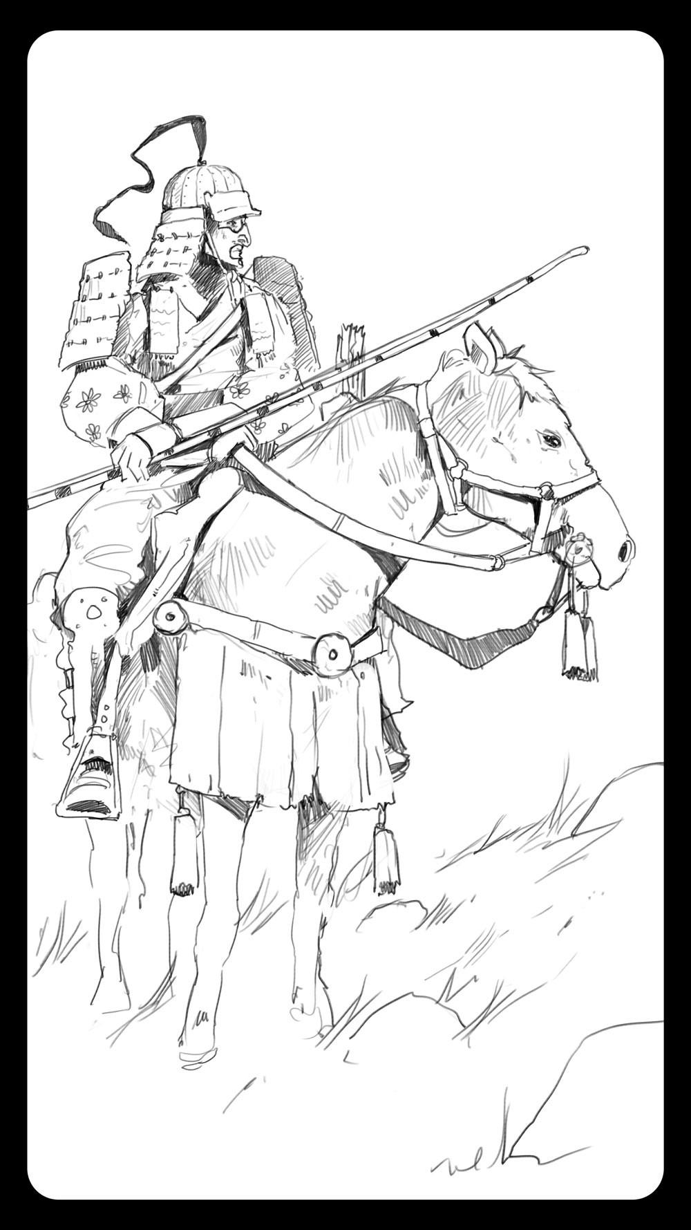 Dominik mayer samurai archer back sketch