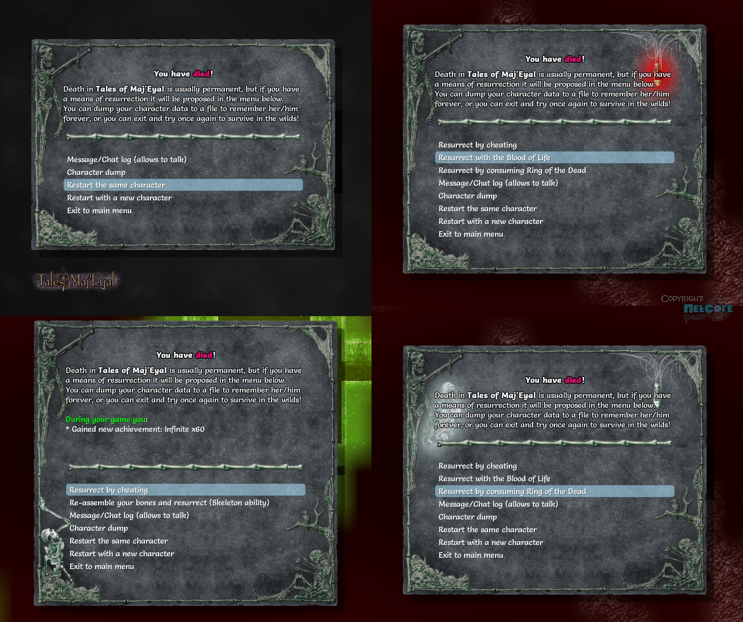 Ingame - normal and with the resurerction options available