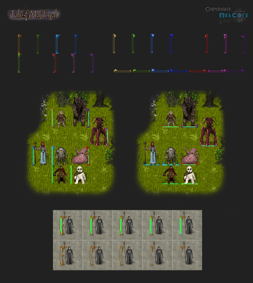 Tactical frames versions and concept. Decorative (upper left) and abstract (upper right) variants. Indicate the player, friendly npc's, neutral npc's, powerfull friendly npc's, foes, powerfull foes and bosses. With health bars inside