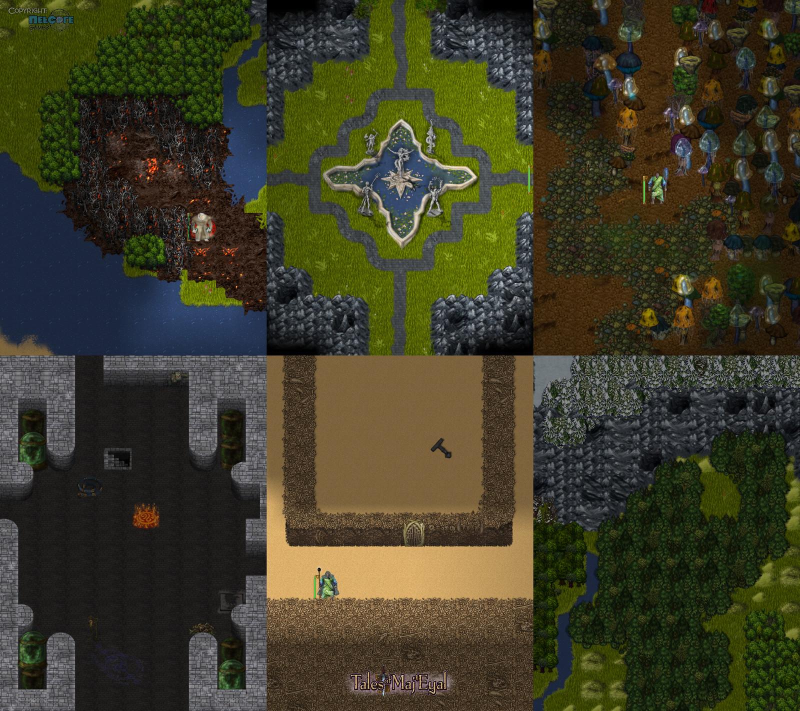 "Different worldmap forest types, fountain, slightly surreal mushrooms tileset, vats, bonewall tilset. Additional game artwork by Raymond ""Shockbolt"" Gaustadnes"
