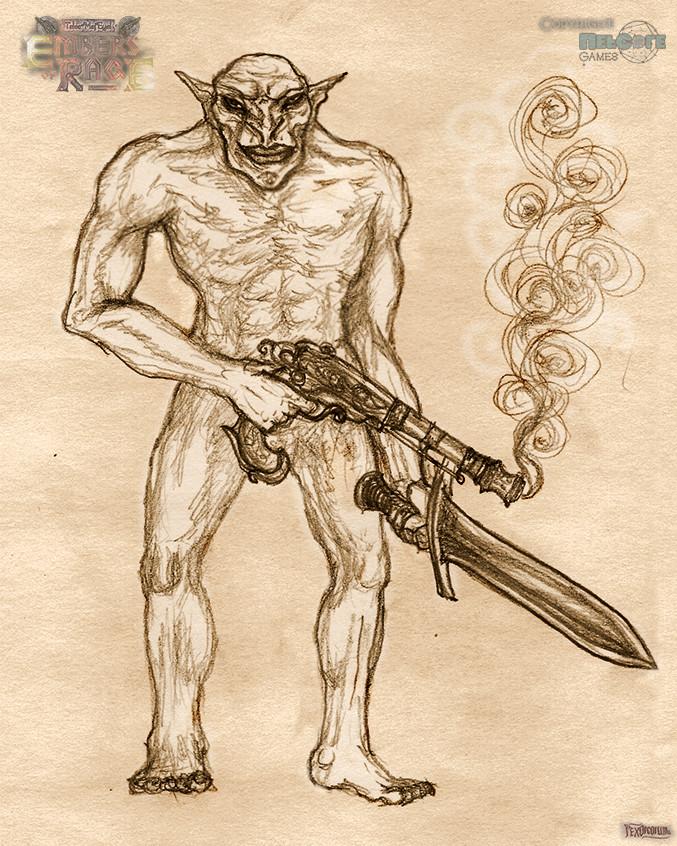 Gunslinging skinny orc