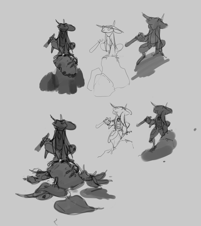 Initial studies for the illustration
