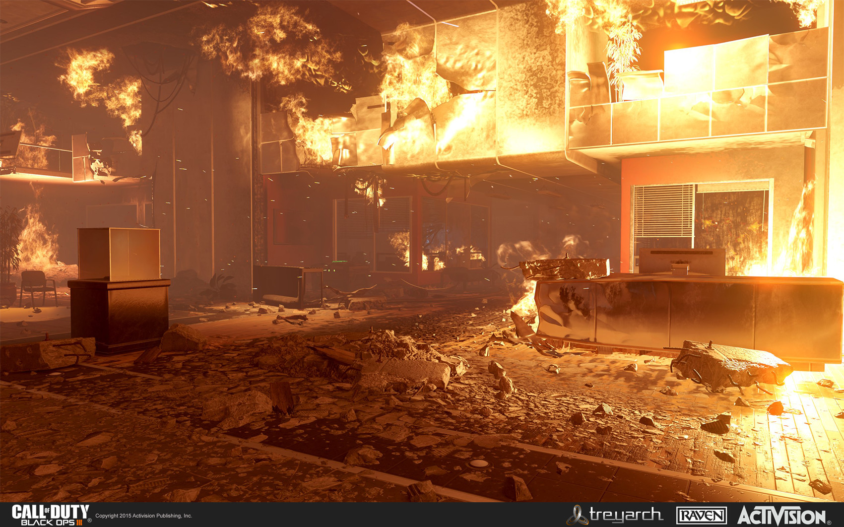 Created the first-floor interior of the destroyed safehouse. This included large destruction models, material treatments, and geo contruction.