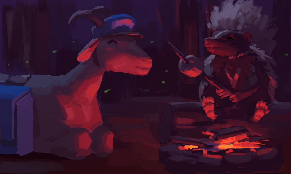 The gentle crackling of a campfire ready for roasting marshmallows~