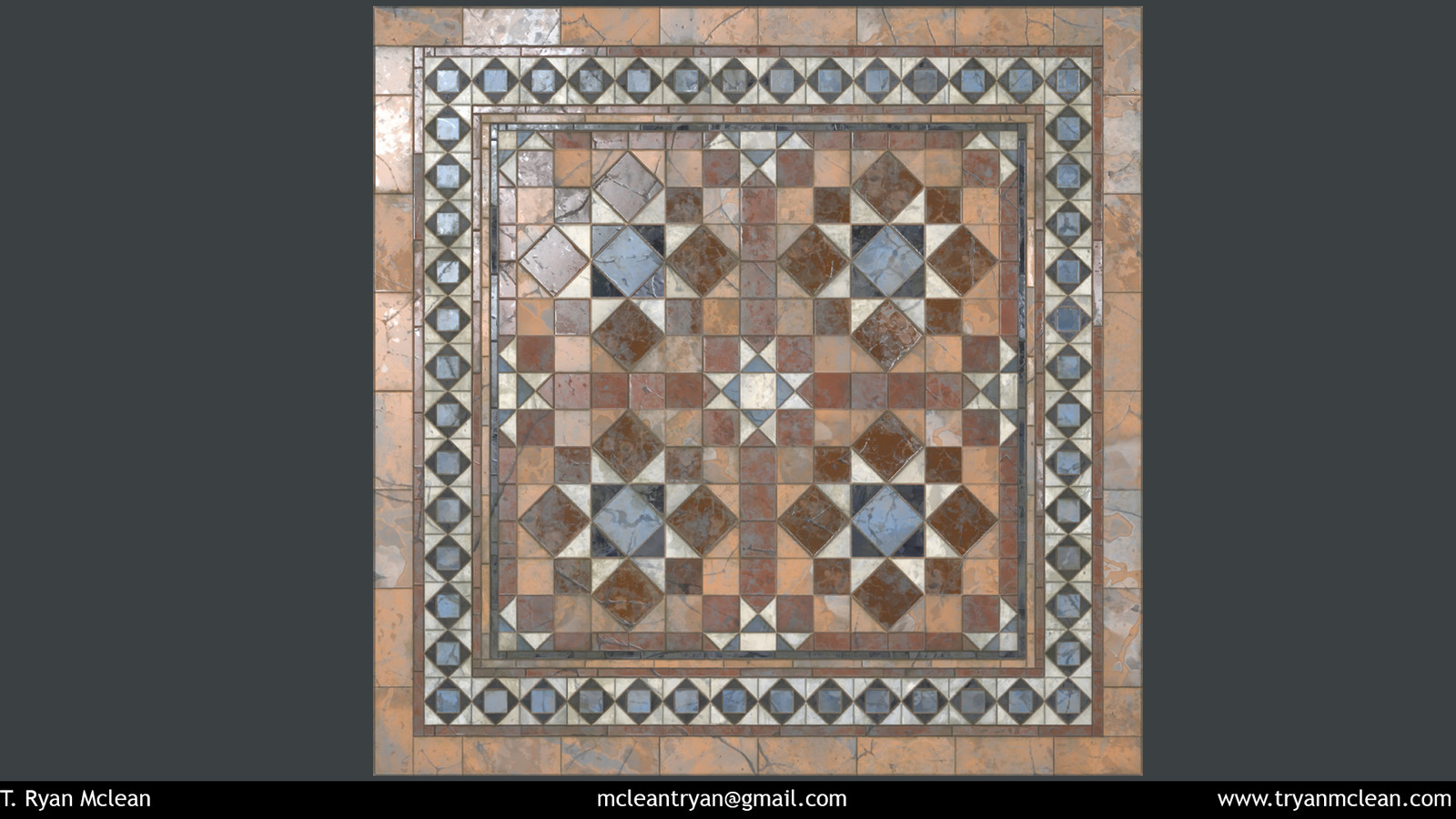 Marble Floor. 100 % Substance Designer. Rendered in Marmoset Toolbag.