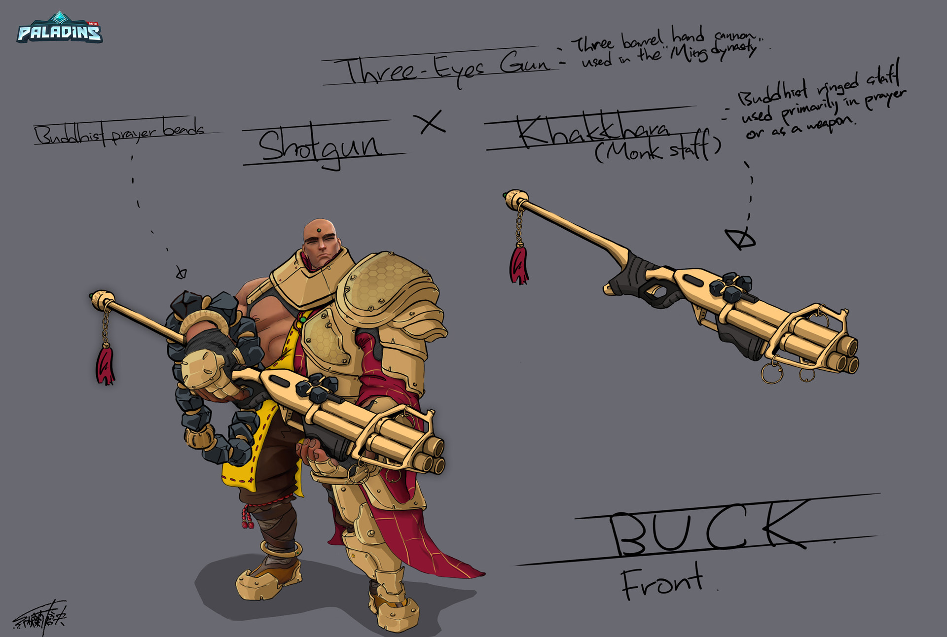 Paladins: Champions of the Real_Buck Abbot (Buddhism) Skin ConceptArt