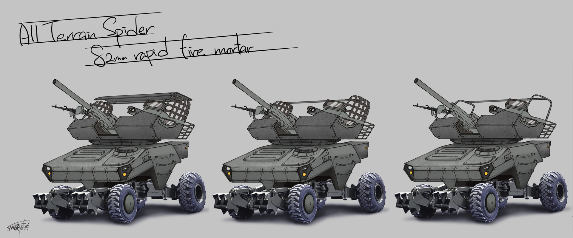 All Terrain Spider 82mm rapid fire mortar