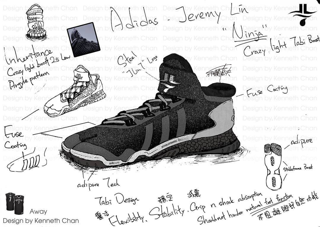 "【 Concept Art : Adidas x Jeremy Lin ""Ninja"" - Crazy Light Low Tabi Shoe_Away Version】"