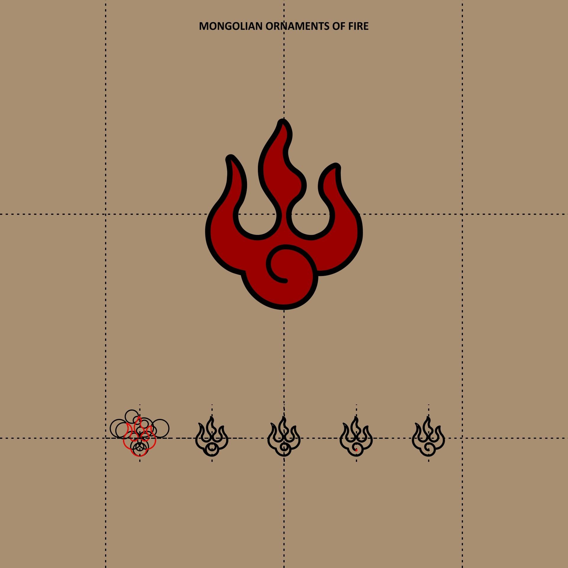 Mongolian ornament fire