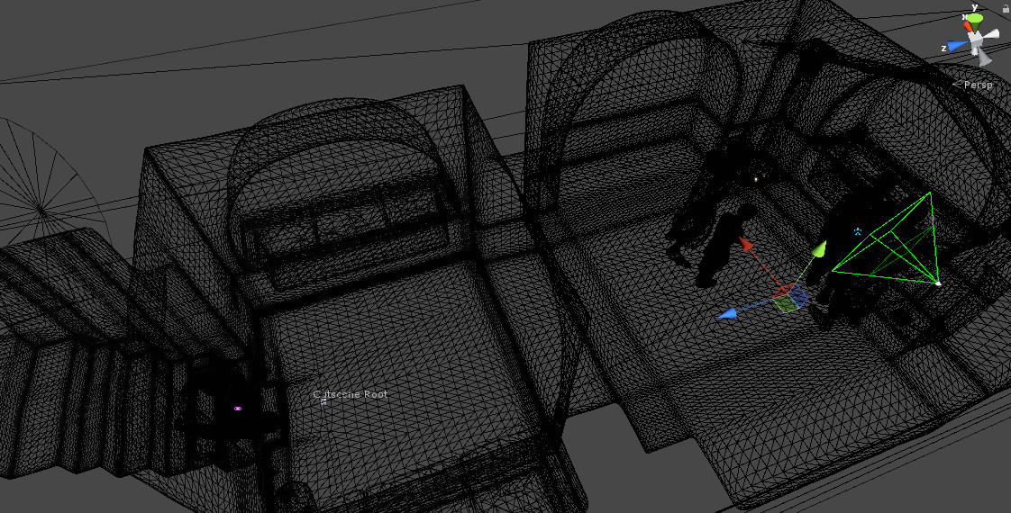 Wireframe view of the tomb scene