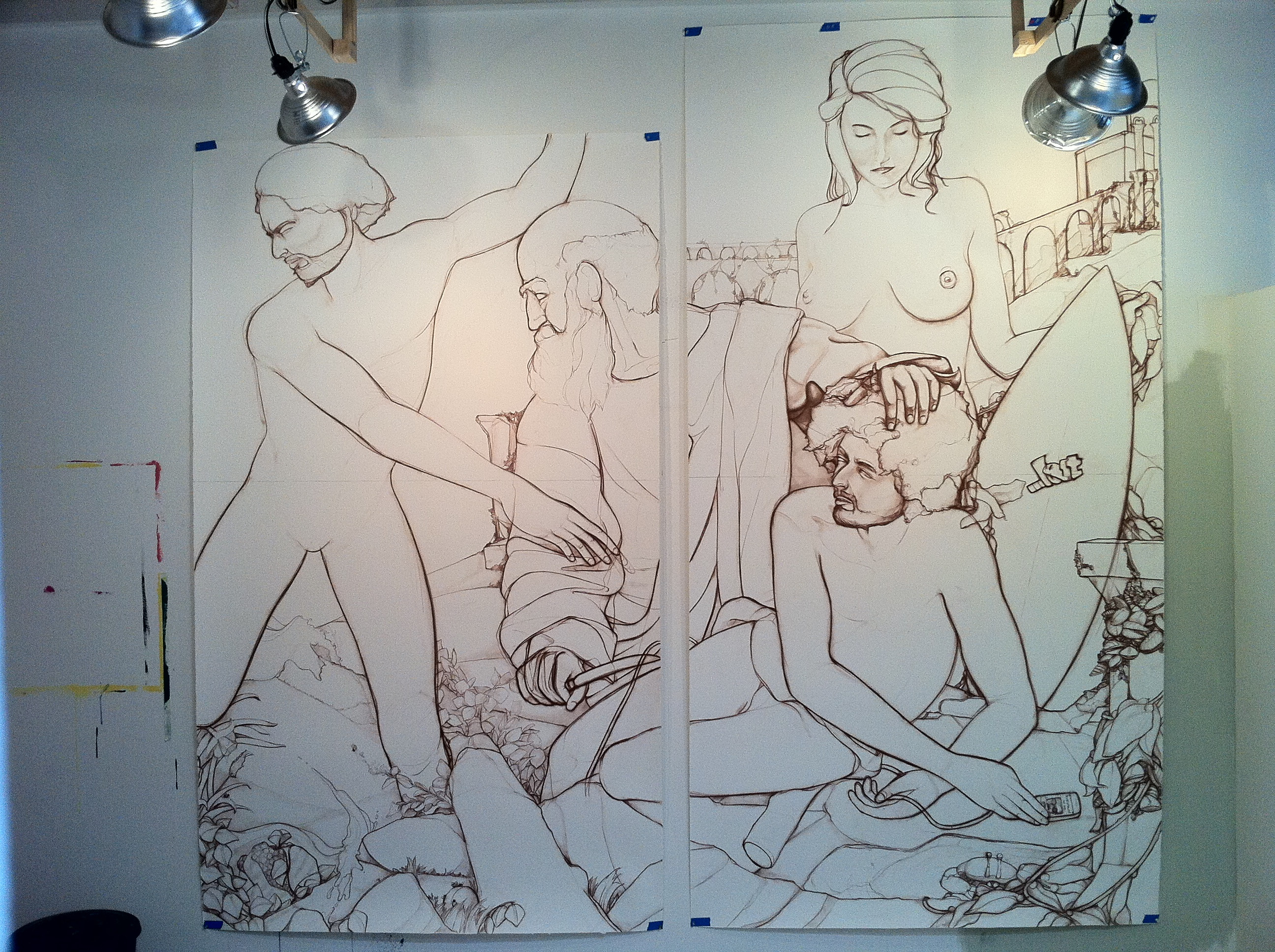 9 foot at it's tallest point mural scale charcoal drawing