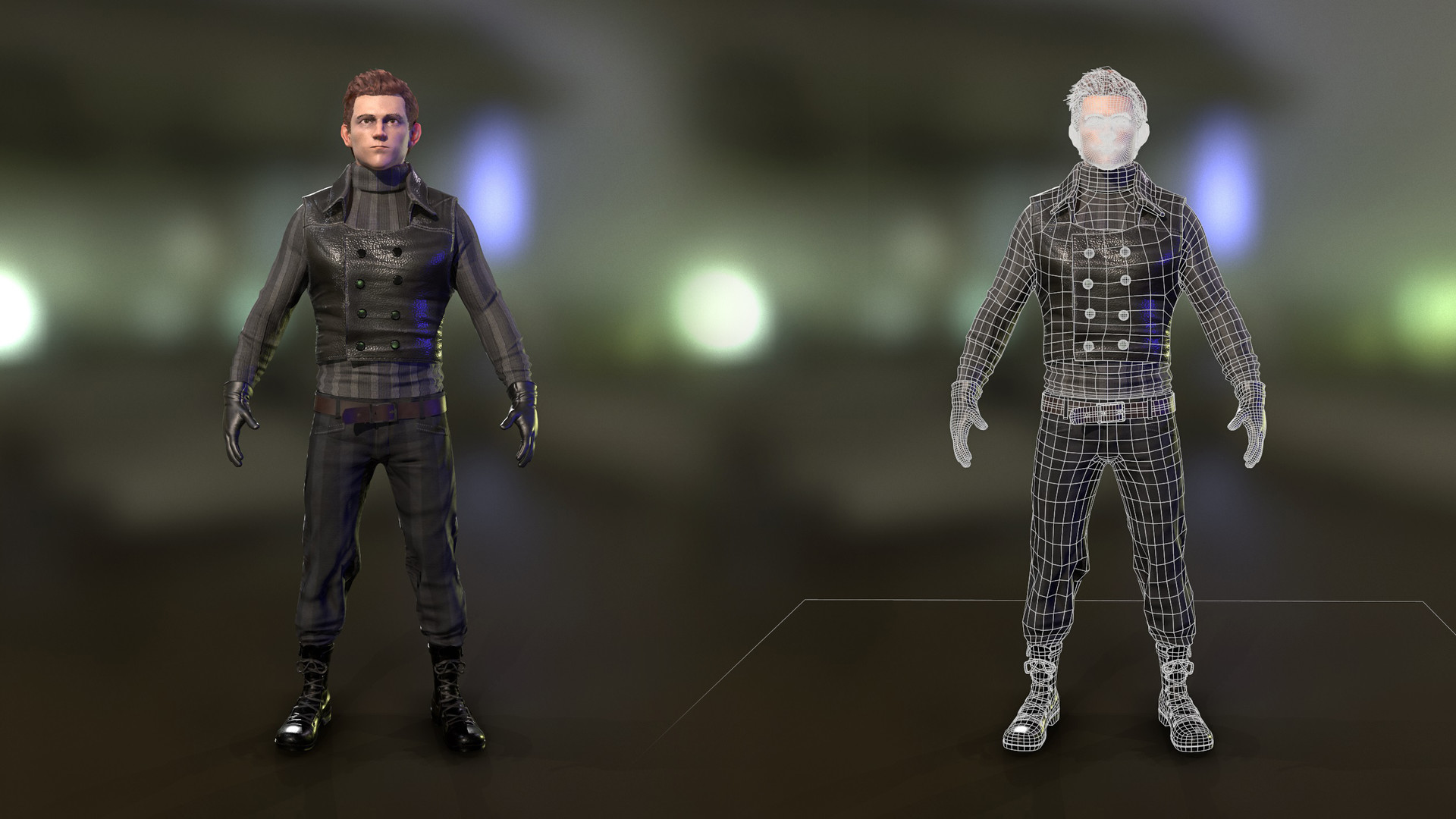 artstation - tom holland - spiderman noir costume, dragos licar