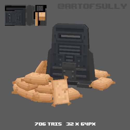 3D Pixel-Art Military Barriers (Commission)
