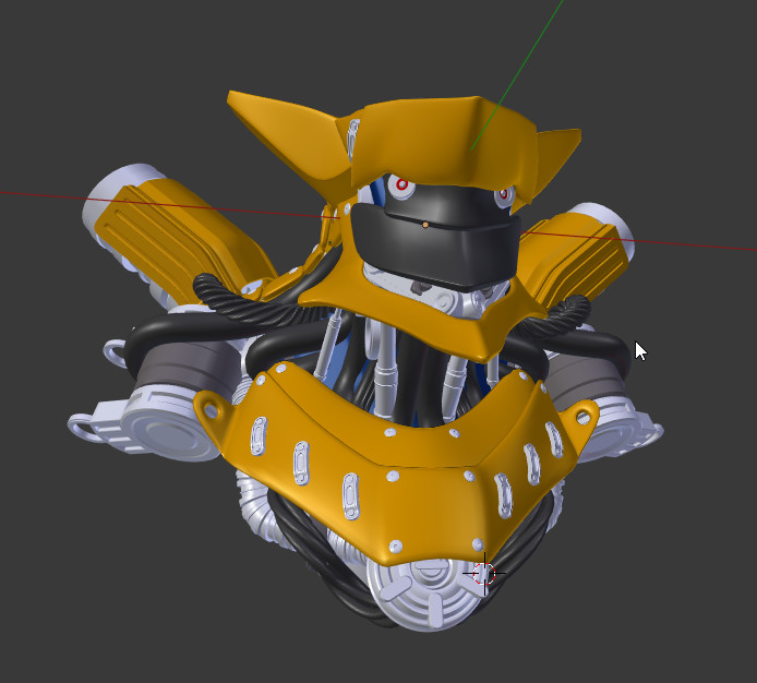Early Highpoly with materials assigned