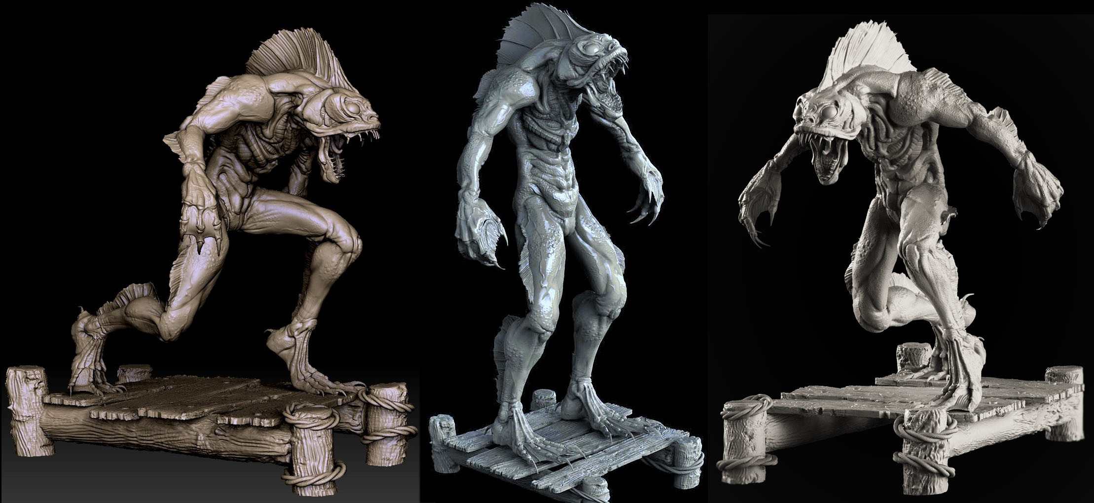 High poly sculpts (one posed for 3D printing)