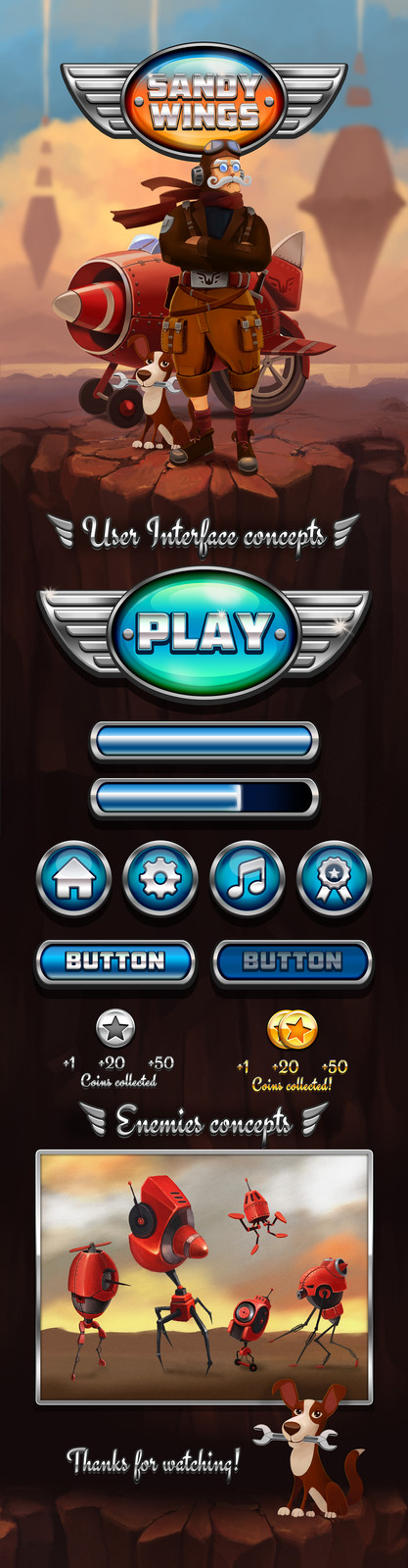 """""""Sandy Wings"""" UI and style game concept"""