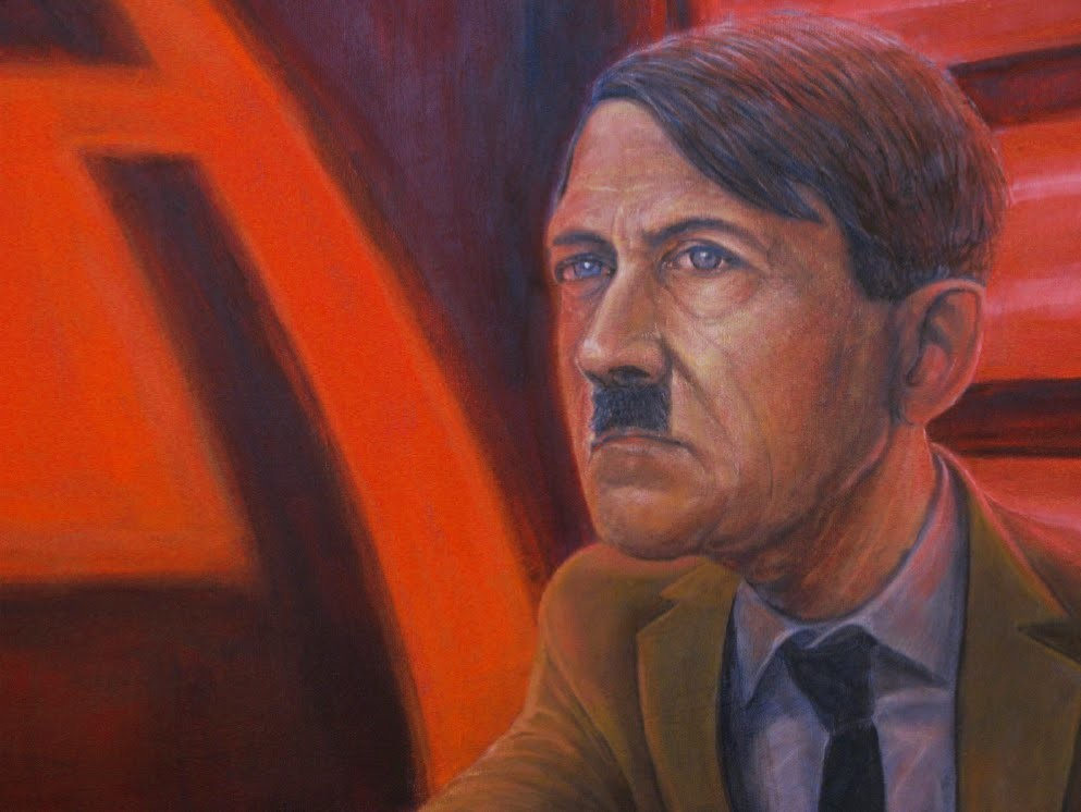 This painting does not celebrate the fantastical correlations between Adolph Hitler and The Dark Lord of the Empire, it attempts to display two ideas; one being that there is a symbiotic relationship between history inspiring fiction, and vice versa. Seco