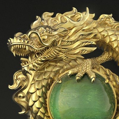 Nacho riesco gostanza dragon jade pendant by nacho riesco