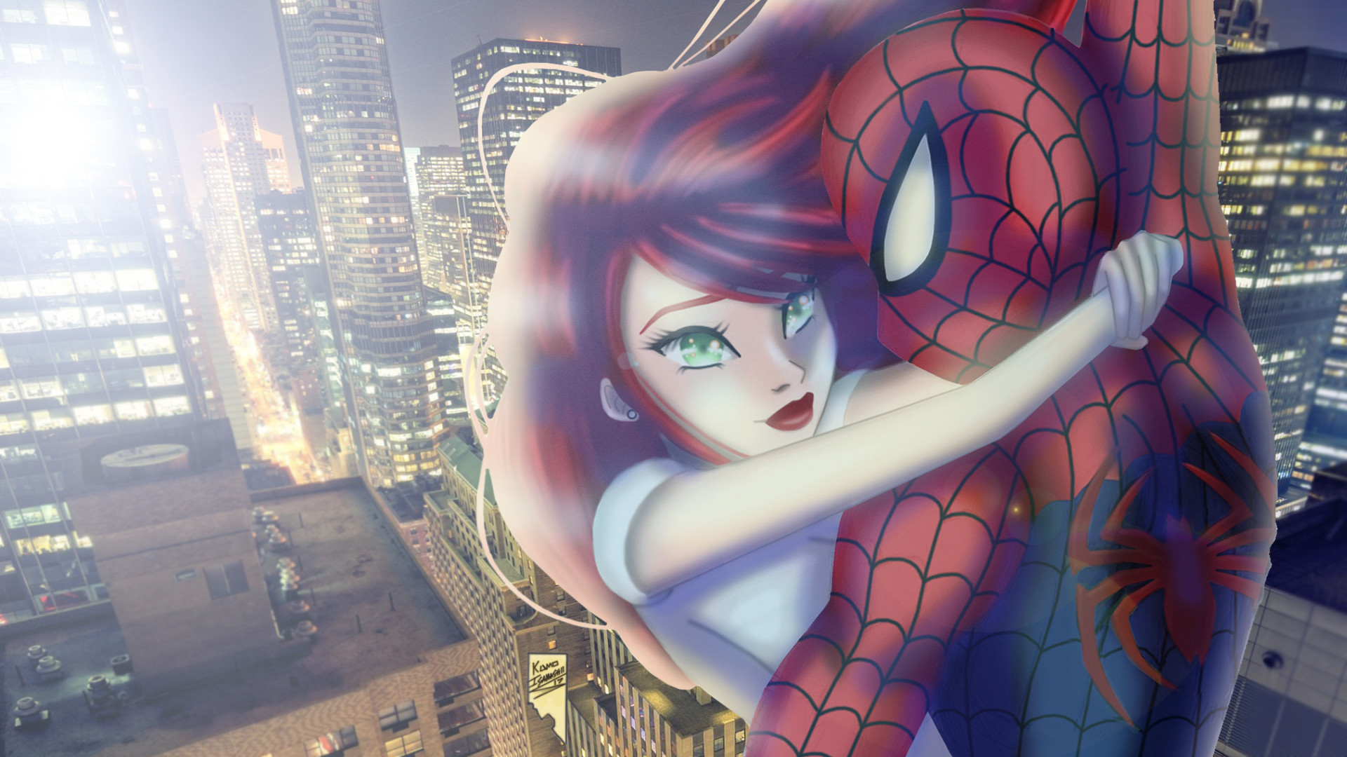 Artstation Spider Man And Mary Jane Daylight And City Lights
