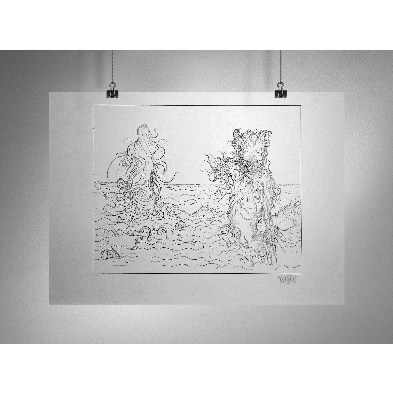 Von children of enki dark gods book one original pencil sketch cvr ver 19x13 giclée print