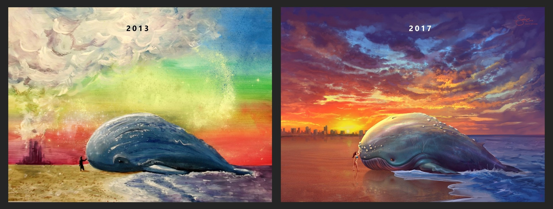 Shellz art beached whale before and after